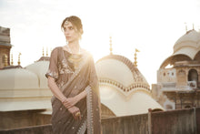 Load image into Gallery viewer, Indera Sequined Saree With Peplum Blouse