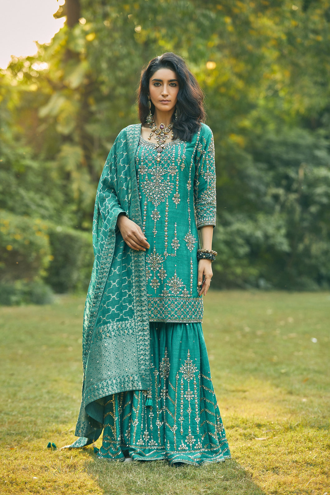 Turquoise Sharara Suit With Dhara Banarasi Dupatta
