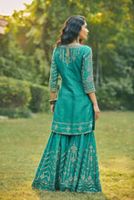 Load image into Gallery viewer, Turquoise Sharara Suit With Dhara Banarasi Dupatta
