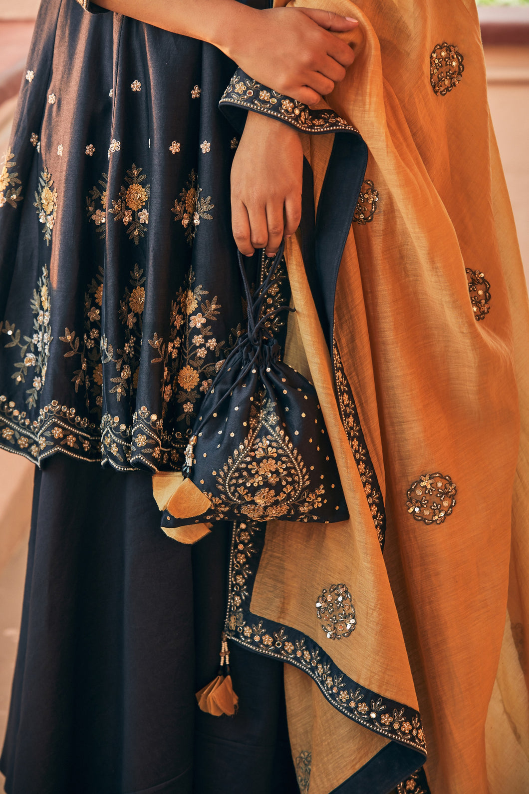 Embellished Deep Blue potli
