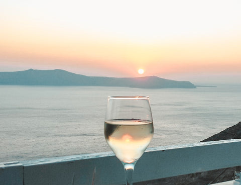 Glass of wine at sunset