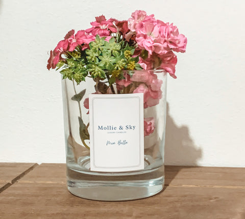 Mollie & Sky candle jar with flowers