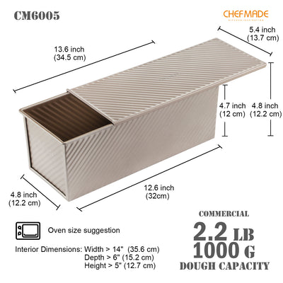 "5"" x 13"" Commercial Corrugated Toast Box (1000G Dough Capacity)"