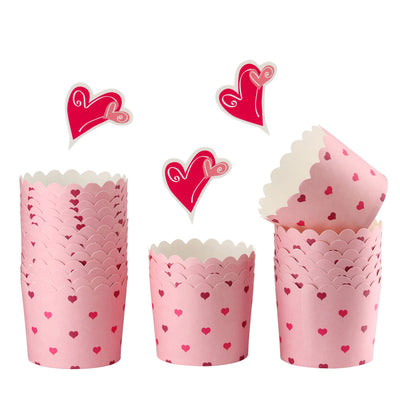 Heart Printed Muffin Liners 25Pcs