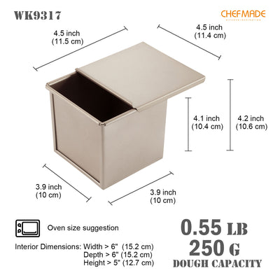 "4"" x 4"" Flat Toast Box (250G Dough Capacity)"