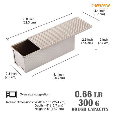 "3"" x 8"" Corrugated Toast Box (300G Dough Capacity)"