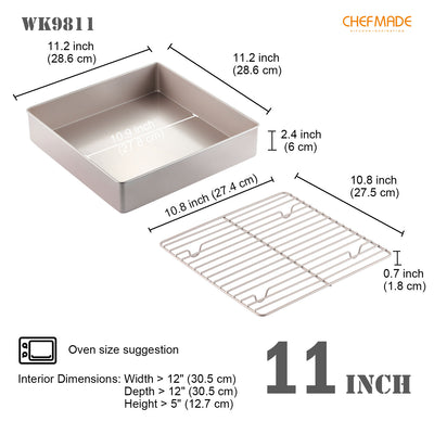"11.2"" x 11.2"" Square Deep Roasting Pan with Rack"