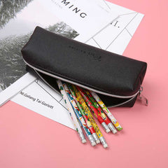 Black Leather Pencil Case High Capacity Business
