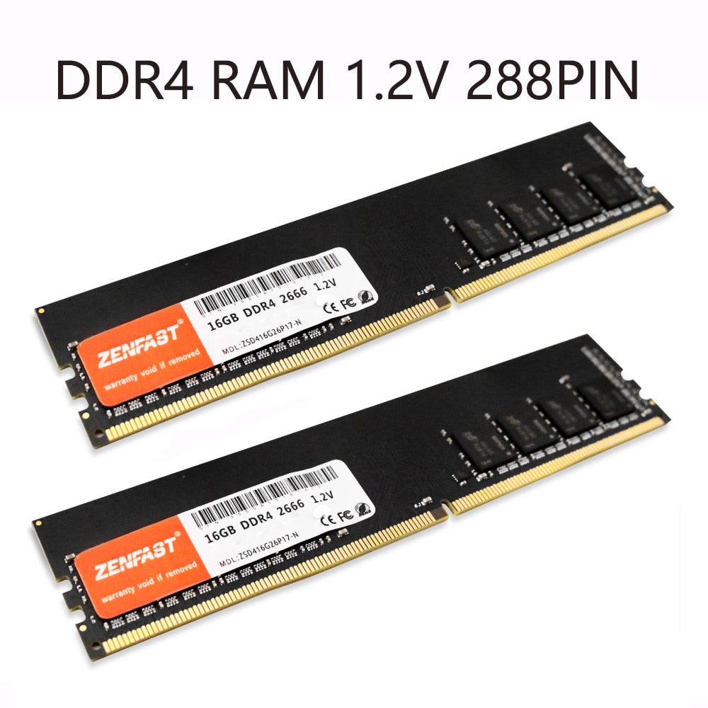 DDR4 Desktop RAM 4GB 8GB 16GB 32GB of 2133 2400 2666Mhz, Dimm 288-Pin 1.2V