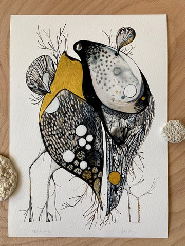 'Entwine' giclee print with hand applied gold ink details