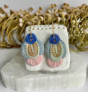 Hand Painted Pink, Blue and Gold Porcelain Earrings