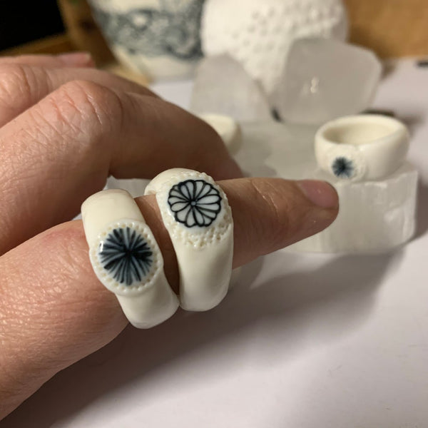 Porcelain band ring with indigo painted detail, choose your size