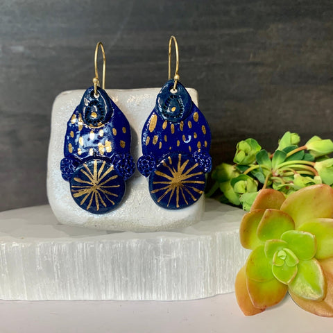 Blue and gold porcelain earrings