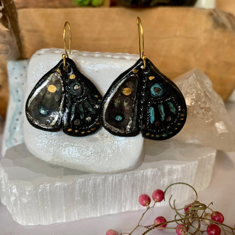 Black porcelain with gold and silver lustre 'wings' earrings