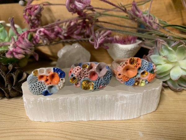 Coloured 'rock coral' porcelain handmade ring