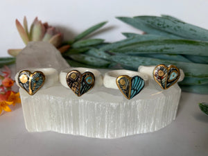 'Wings' hand painted ring, choose a size, gold detail