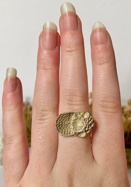 "Sterling Silver ""Rock Coral"" Ring #6"