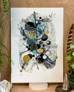 'Grey Feather' giclee Print on rag paper with hand applied gold detail, a3 or a4 or a5