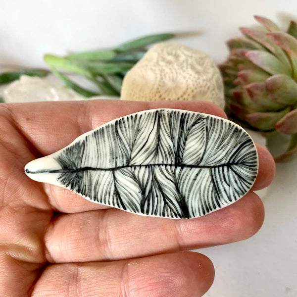 'Feather' porcelain brooch