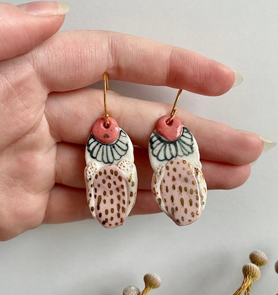 Hand Painted Blue, Pink and Gold Porcelain Earrings