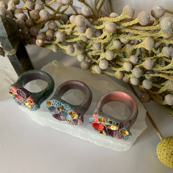 Coloured porcelain 'rock coral' ring, choose one