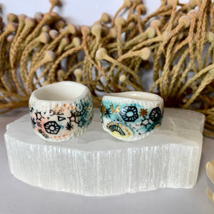 'Stars and cells' porcelain band ring, choose one