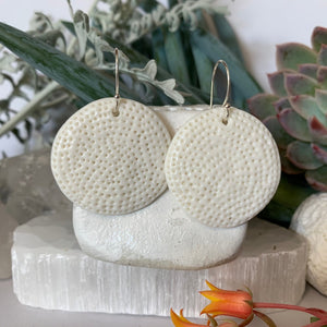 White porcelain 'coral dot' earrings