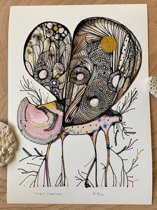 'Sepia creature' giclee print with hand applied gold ink detail