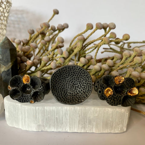 Black porcelain 'rock coral' rings (x large sizes)