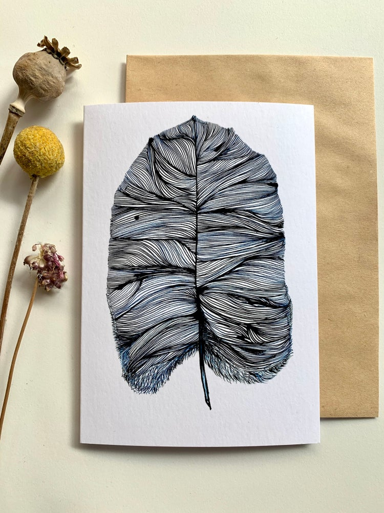 'Blue feather' greeting card