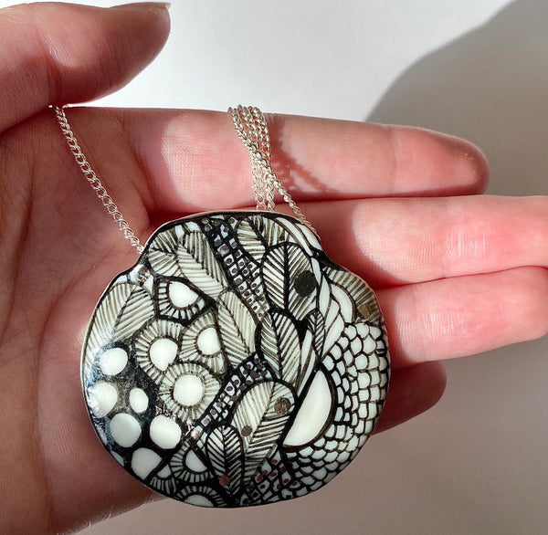 Porcelain 'seafoam' Pendant on sterling silver chain