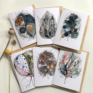 Set of 6 greeting cards, 'Sepia'