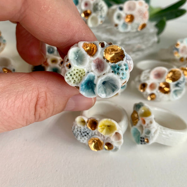 Choose a size, one watercolour porcelain 'rock coral' ring