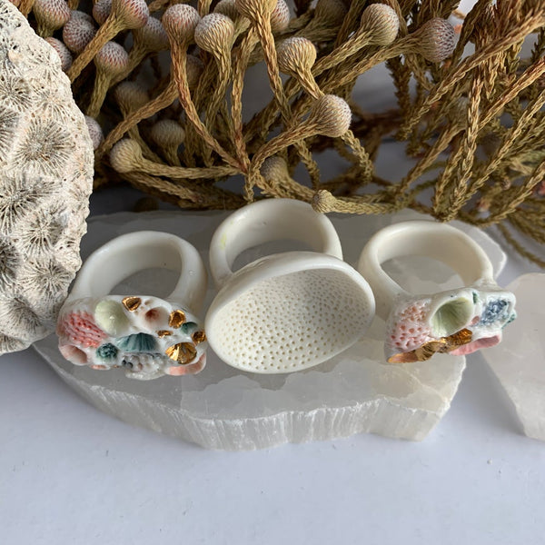 'Rock coral' porcelain ring, choose your size