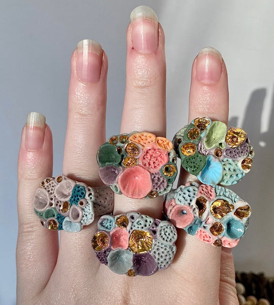 Multicolour 'Rock Coral' Ring - Choose a Size