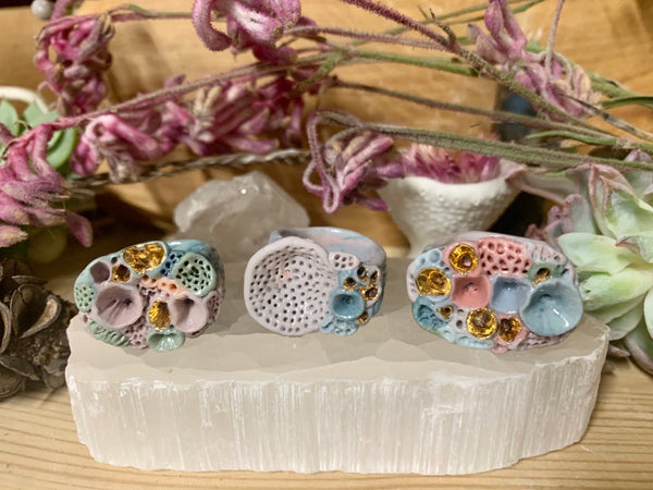Lilac, green, light blue 'rock coral' handmade porcelain ring