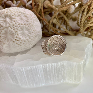Sterling silver 'rock coral' ring #9
