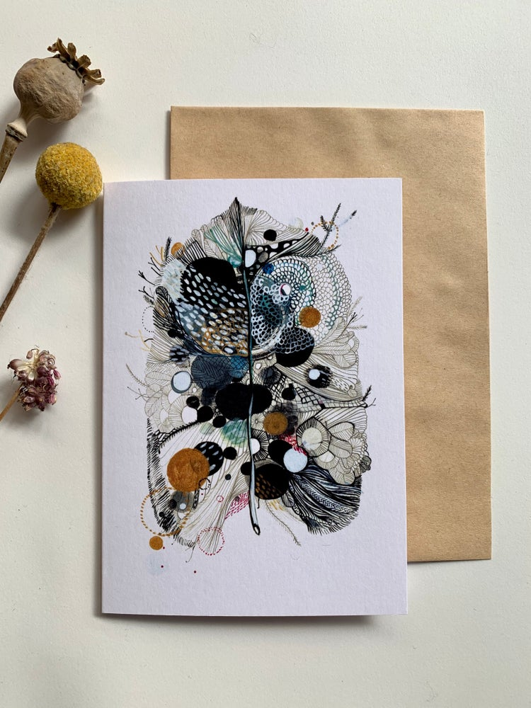 'Grey leaf' greeting card