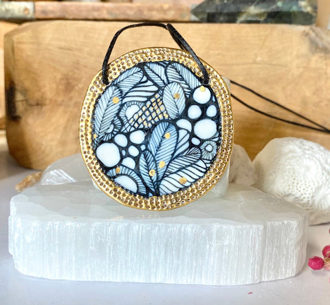 Porcelain Pendant Painted by Hand with Gold Details #2