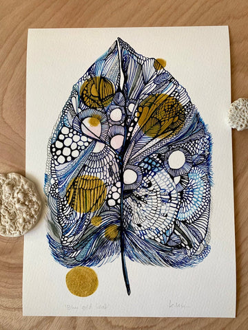 'Blue gold leaf' with hand drawn gold ink details.