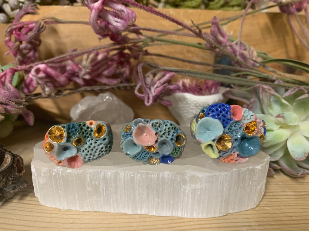 Multi coloured porcelain 'rock coral' handmade ring, choose one