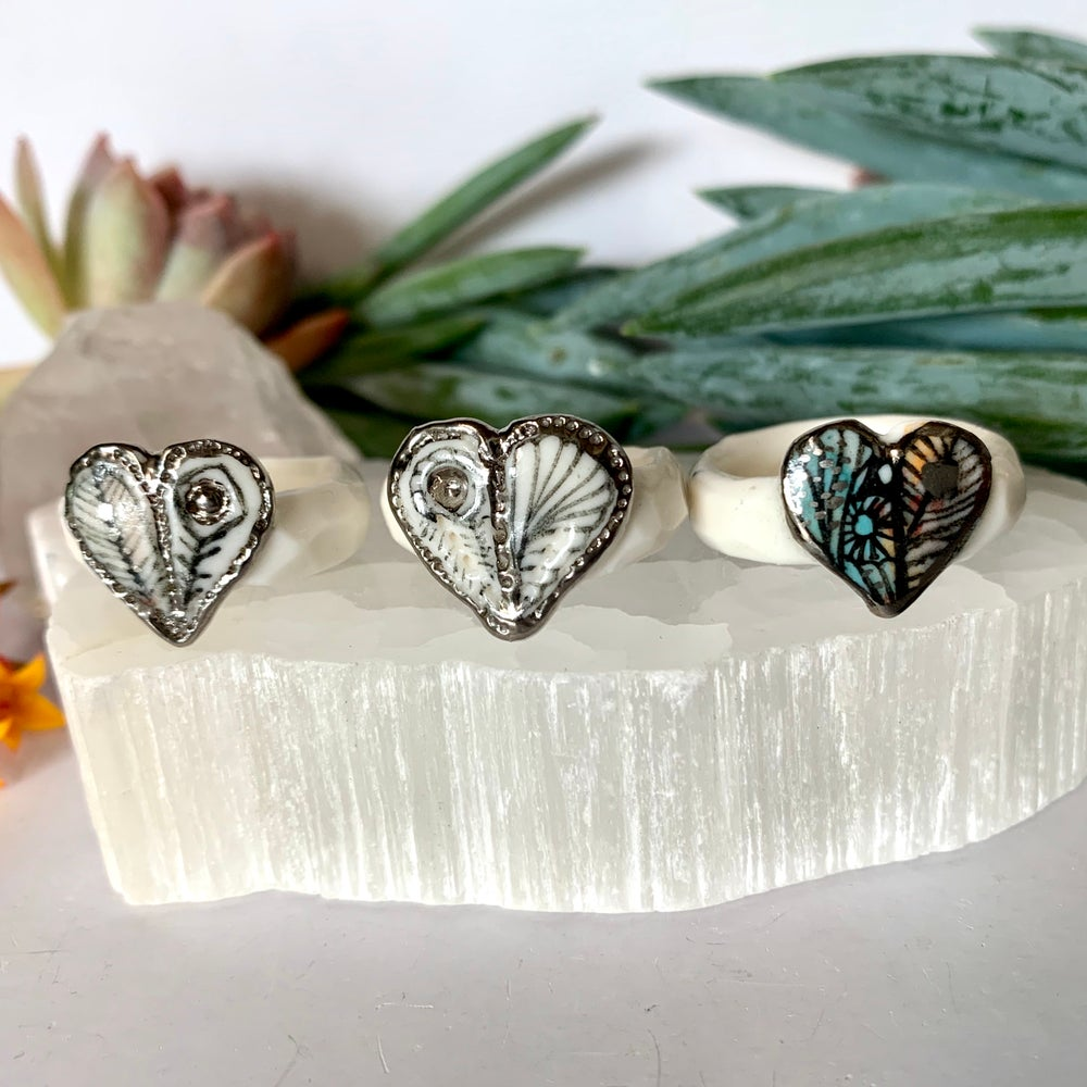 'Wings' porcelain ring, with silver detail, Choose your size
