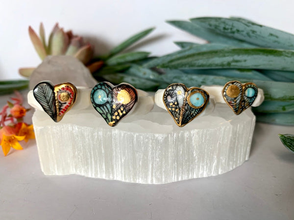 'Wings' porcelain ring, choose a size