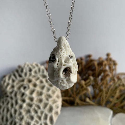 'Rock coral' pod shaped pendant on sterling silver chain