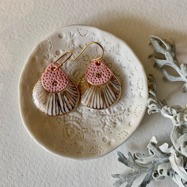 Pink, white and gold porcelain earrings