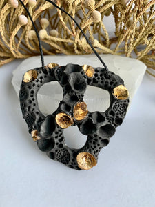 Black porcelain 'rock coral' pendant