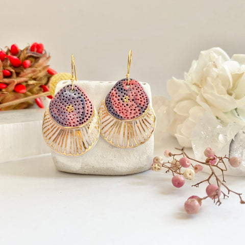 Pink, white, gold and Purple porcelain earrings