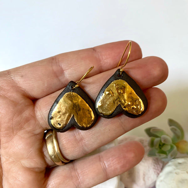Black and gold Porcelain 'Wings' earrings