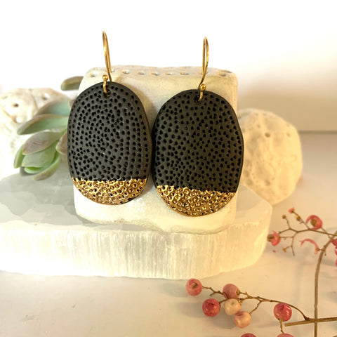 Black and gold 'coral dot' porcelain handmade earrings