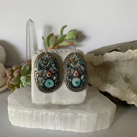 'Wings' porcelain earrings, with silver lustre detail